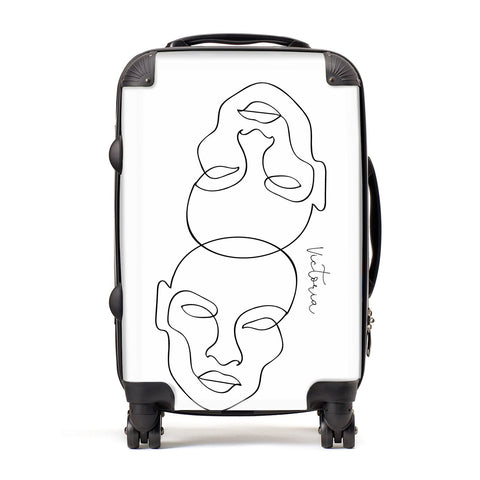 Personalised White Line Art Suitcase