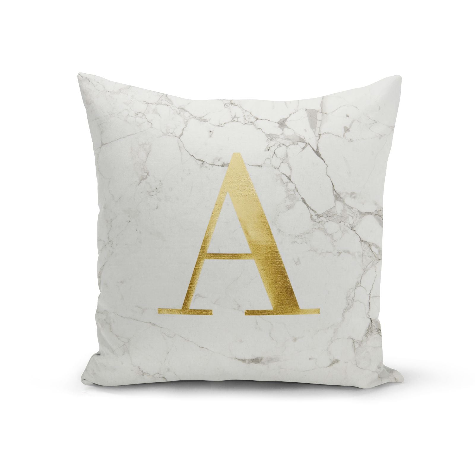 Personalised White Marble Gold Foil Cushion Cotton Cushion