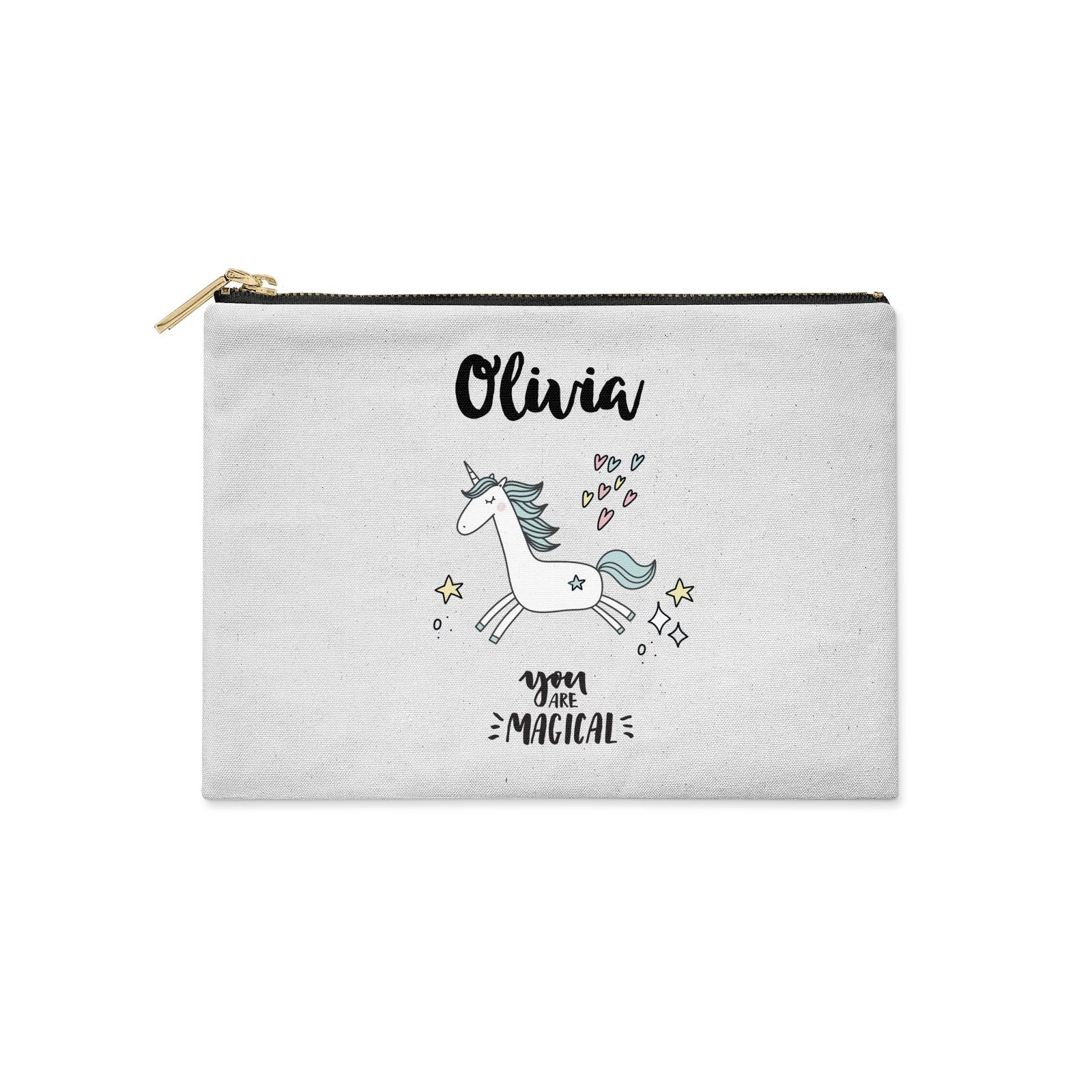 Personalised You Are Magical Unicorn Clutch Bag Zipper Pouch
