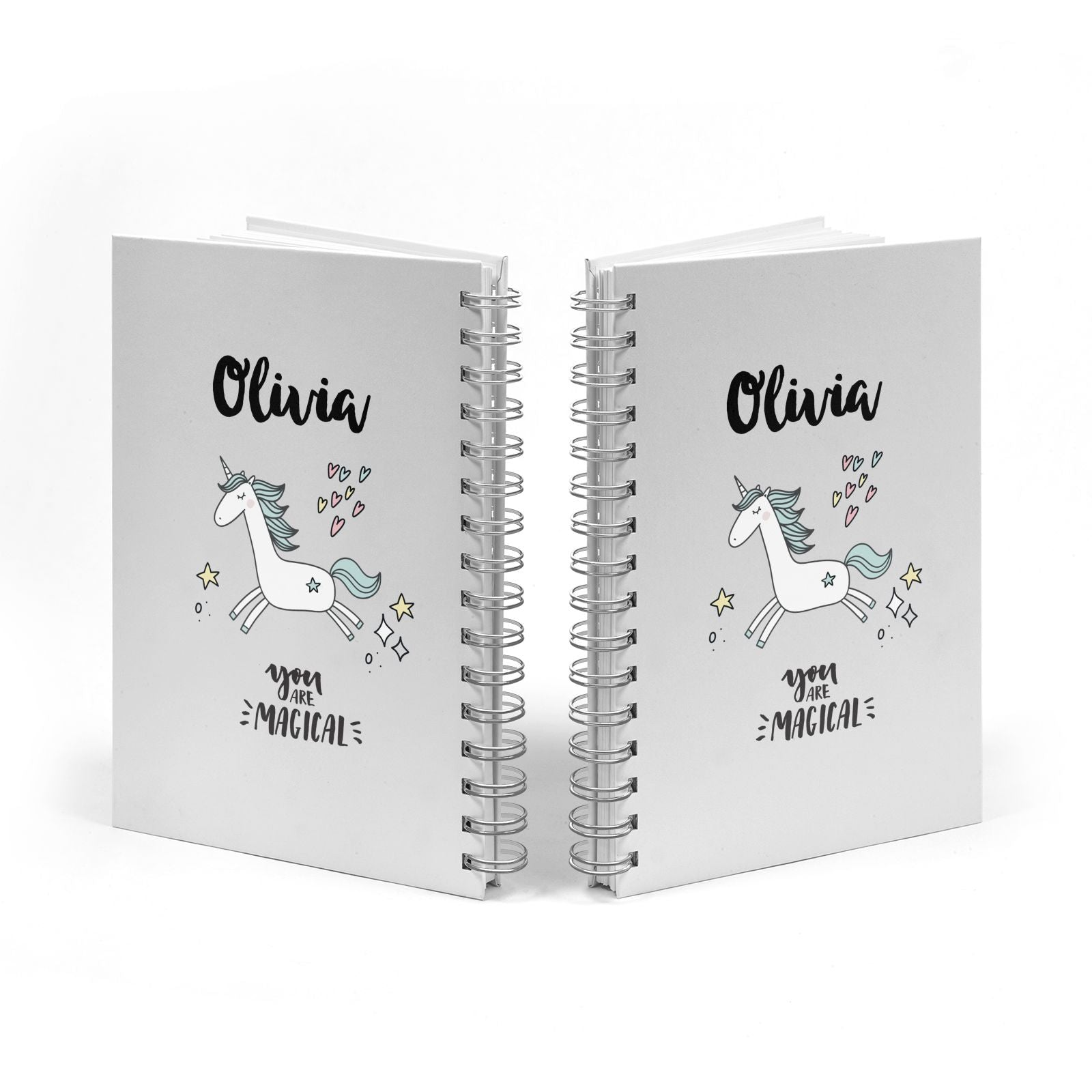 Personalised You Are Magical Unicorn Notebook with Silver Coil Spine View