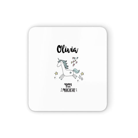 Personalised You Are Magical Unicorn Coasters set of 4