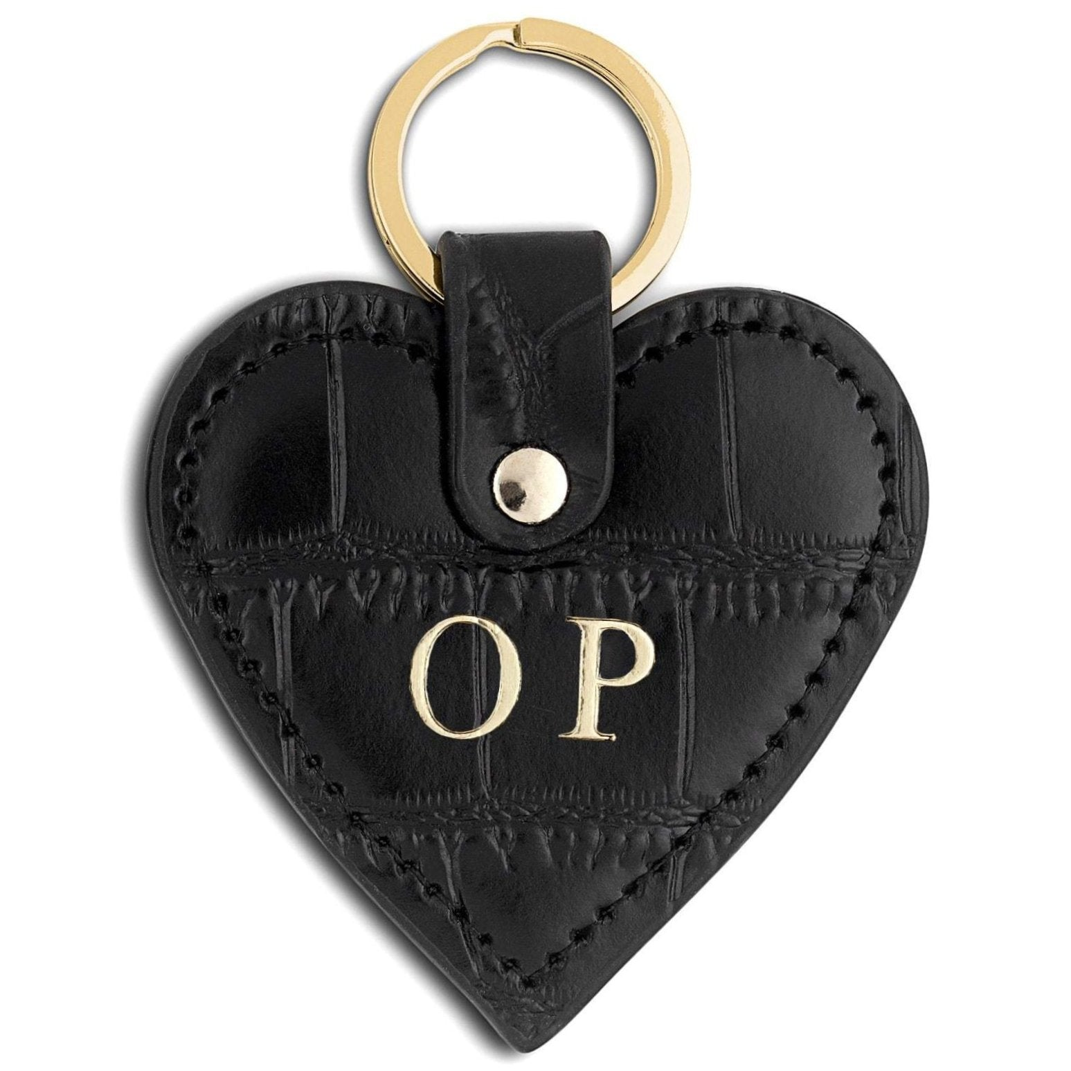Personalised Black Croc Leather Heart Key Ring