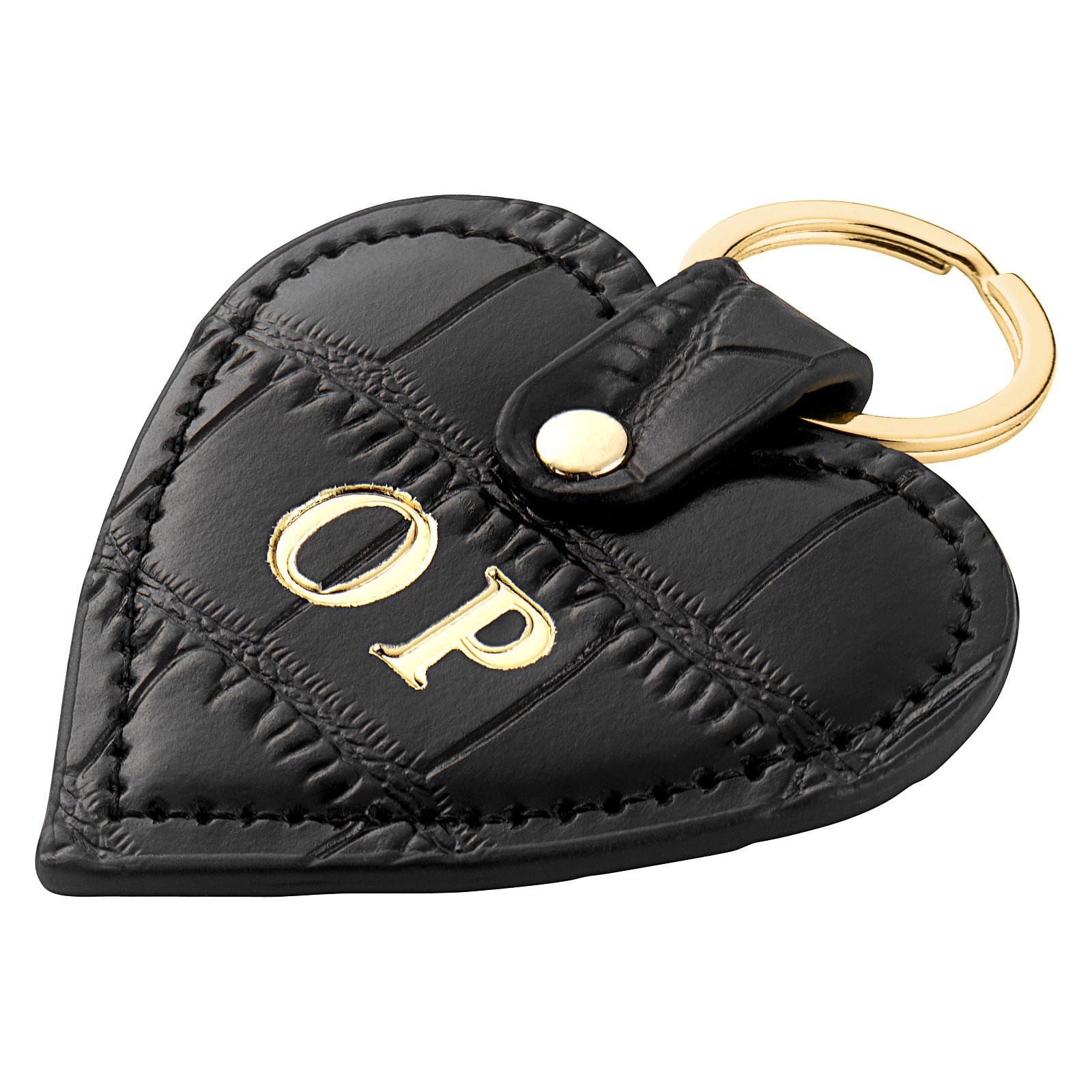 Personalised Black Croc Leather Heart Key Ring Side Angle