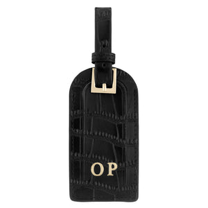 Personalised Black Croc Leather Luggage Tag