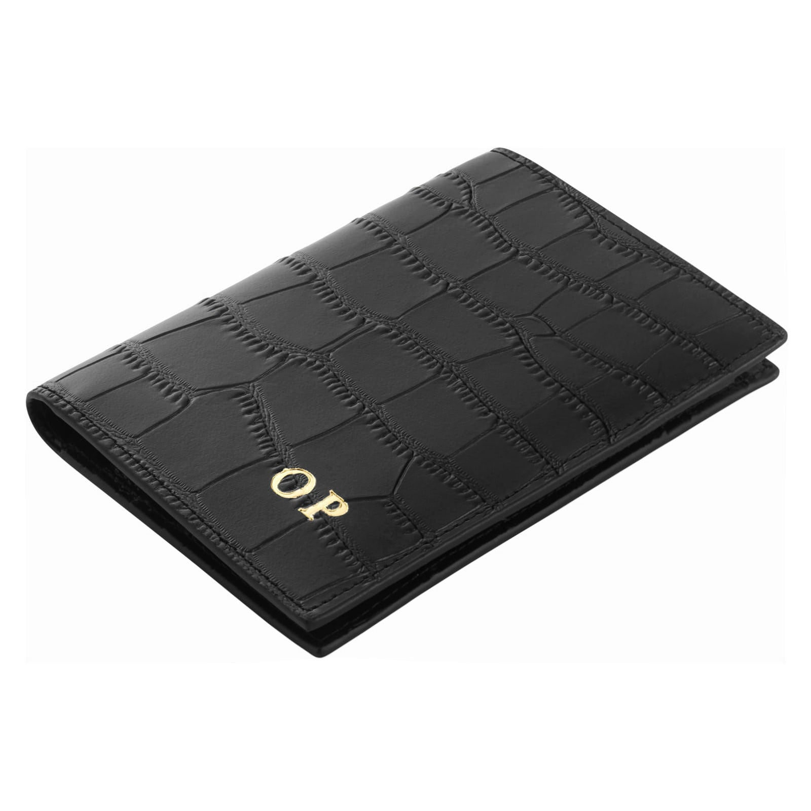 Personalised Black Croc Leather Passport Holder Side Angle