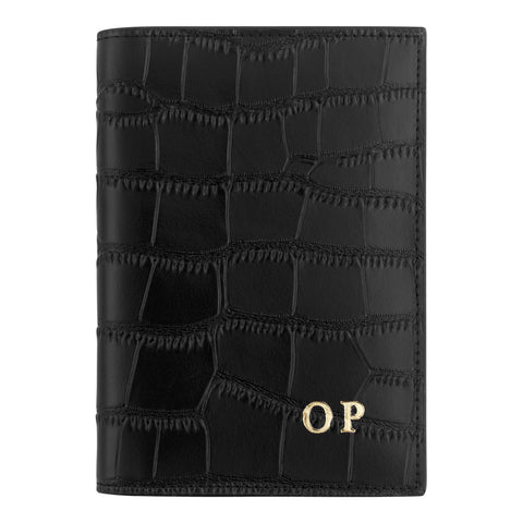 Personalised Black Croc Leather Passport Holder