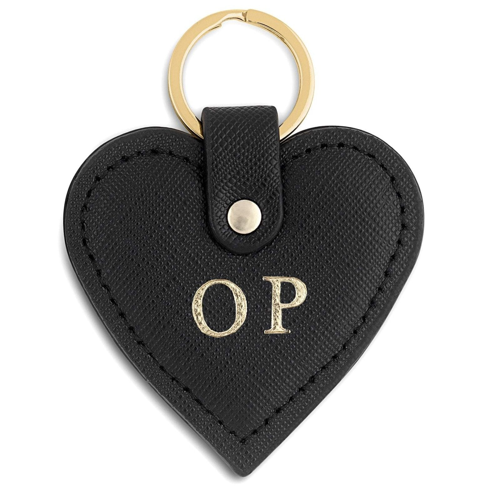 Personalised Black Saffiano Leather Heart Key Ring