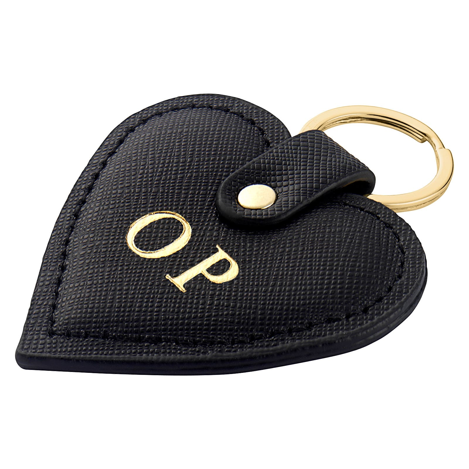 Personalised Black Saffiano Leather Heart Key Ring Side Angle