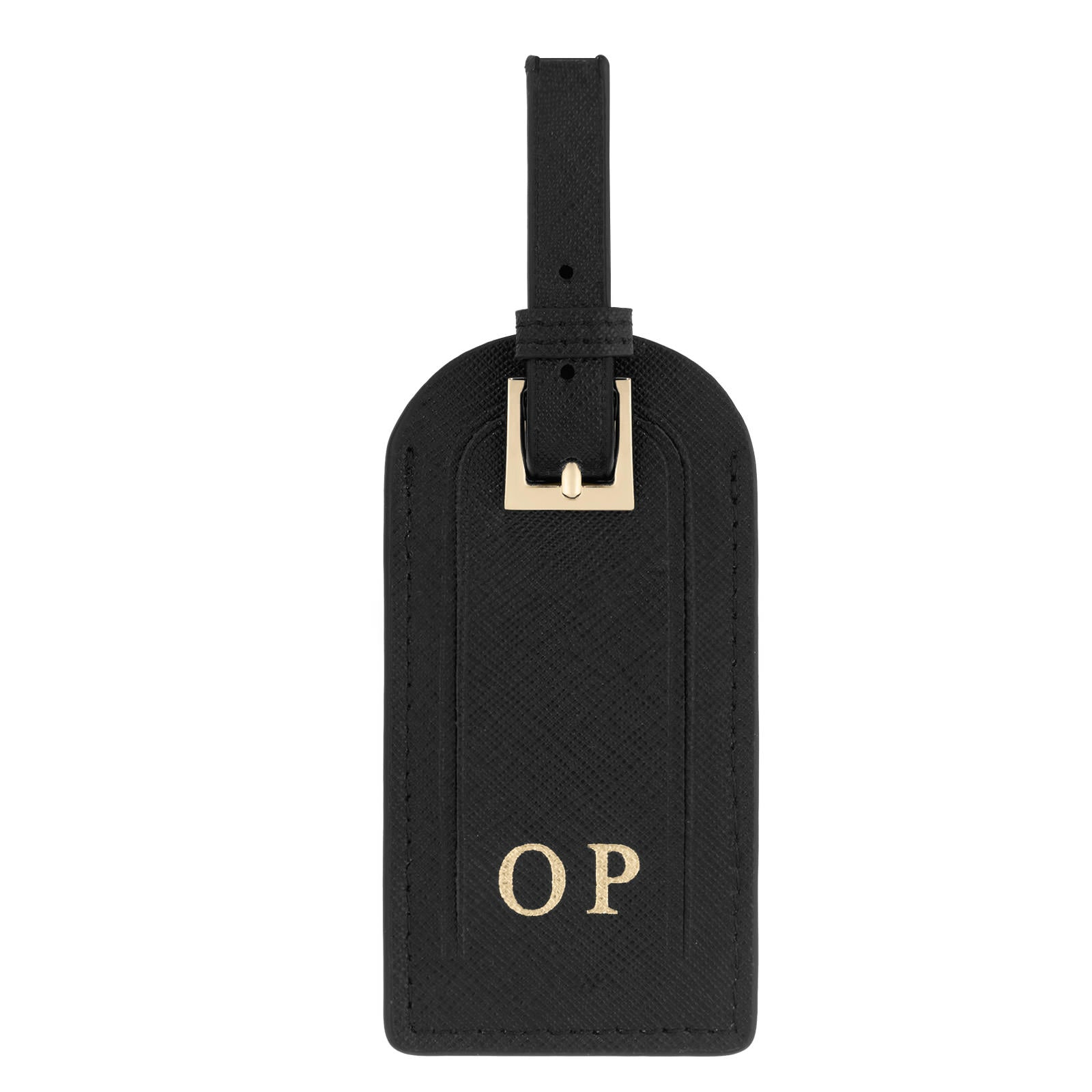 Personalised Black Saffiano Leather Luggage Tag