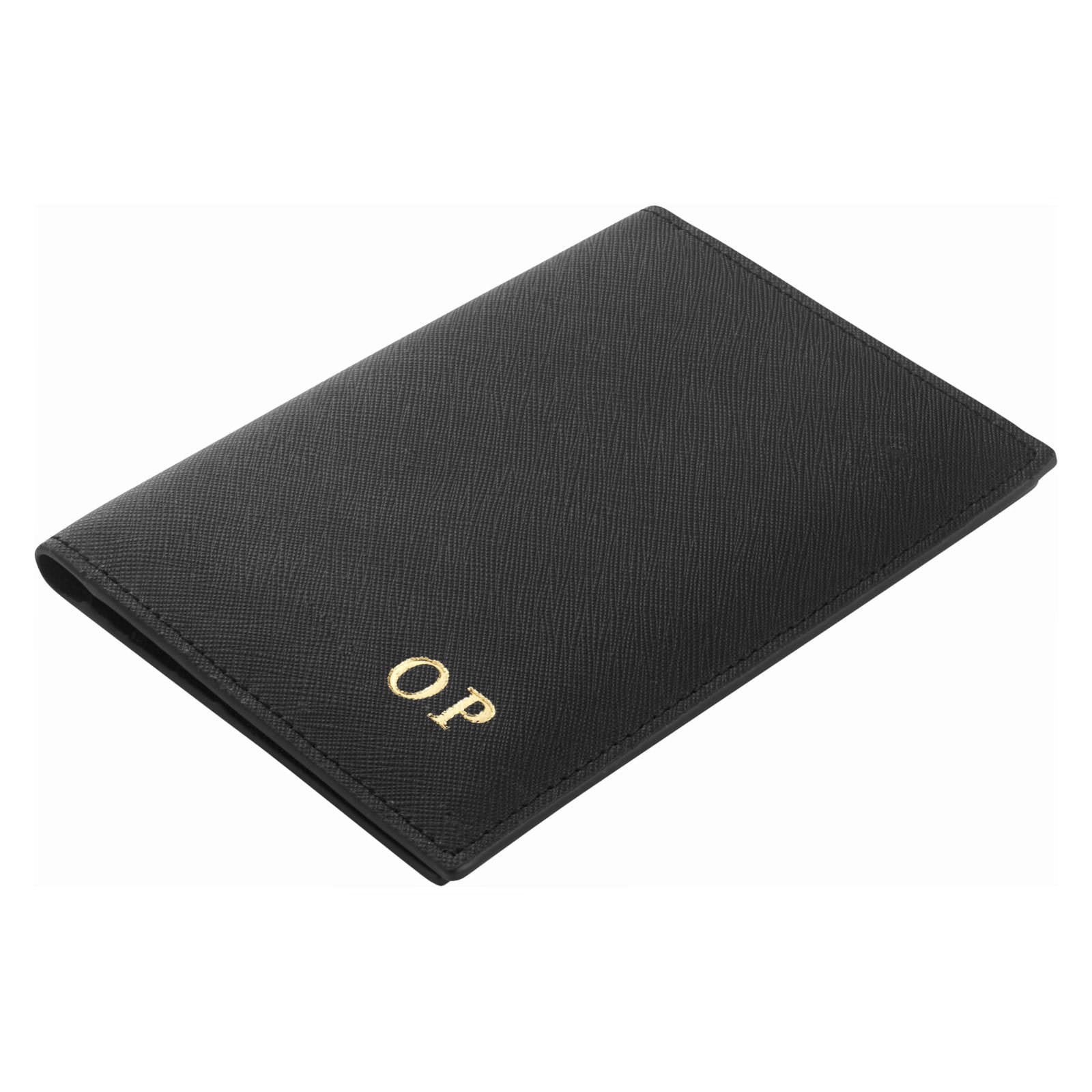 Personalised Black Saffiano Leather Passport Holder Side Angle