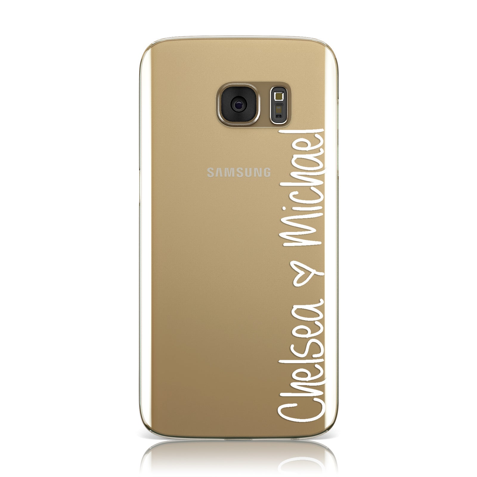 Personalised Couples Names Handwritten White Clear Samsung Galaxy Case