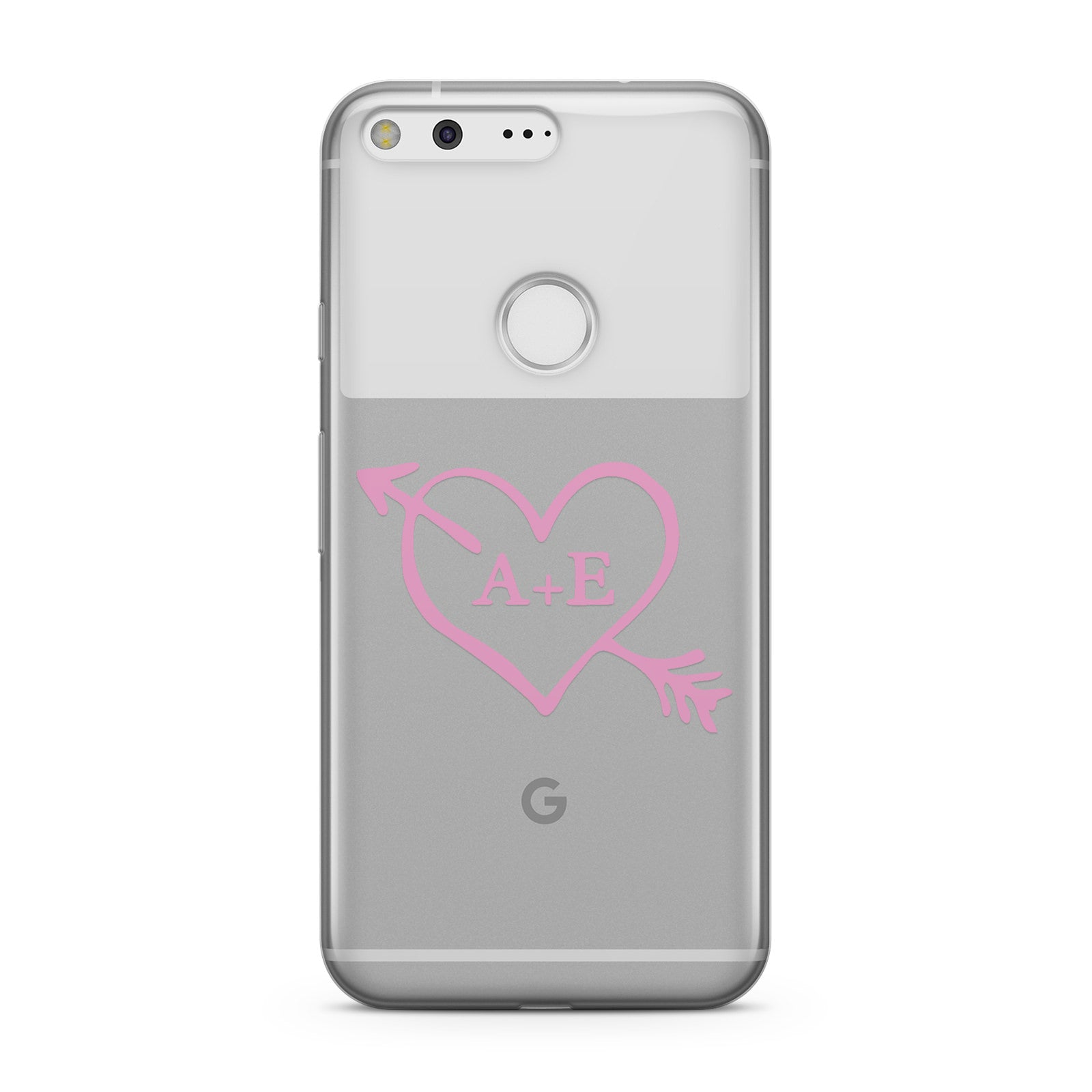 Personalised Couples Pink Initials Arrow Clear Google Case