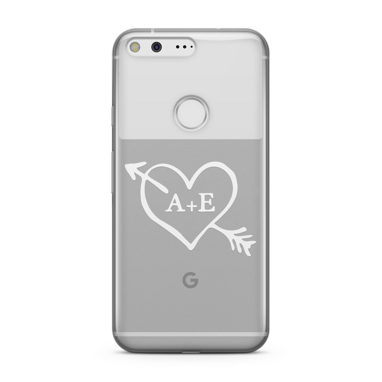 Personalised Couples White Initials Arrow Clear Google Case