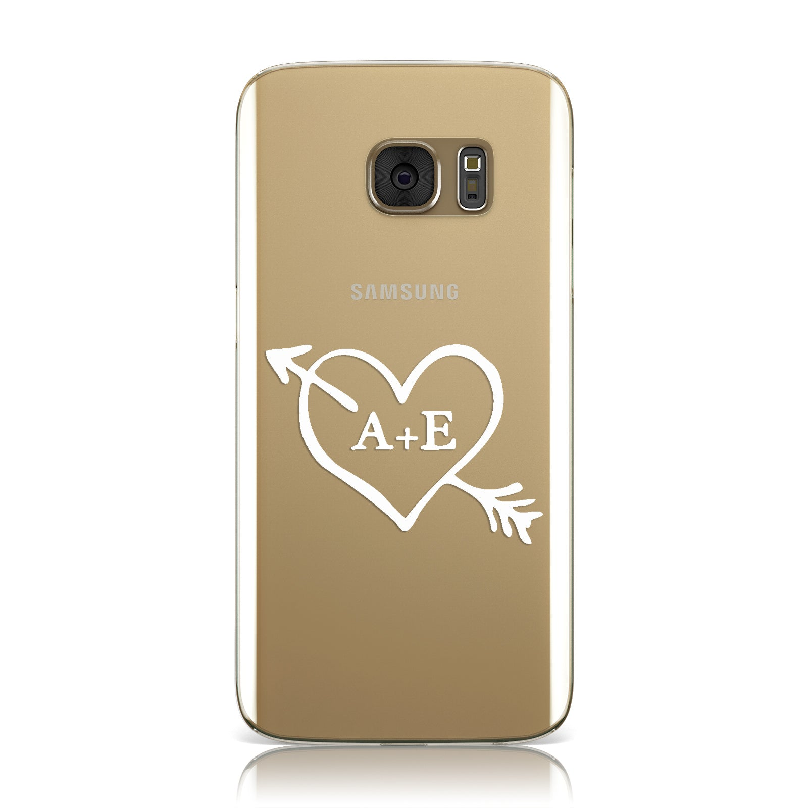 Personalised Couples White Initials Arrow Clear Samsung Galaxy Case