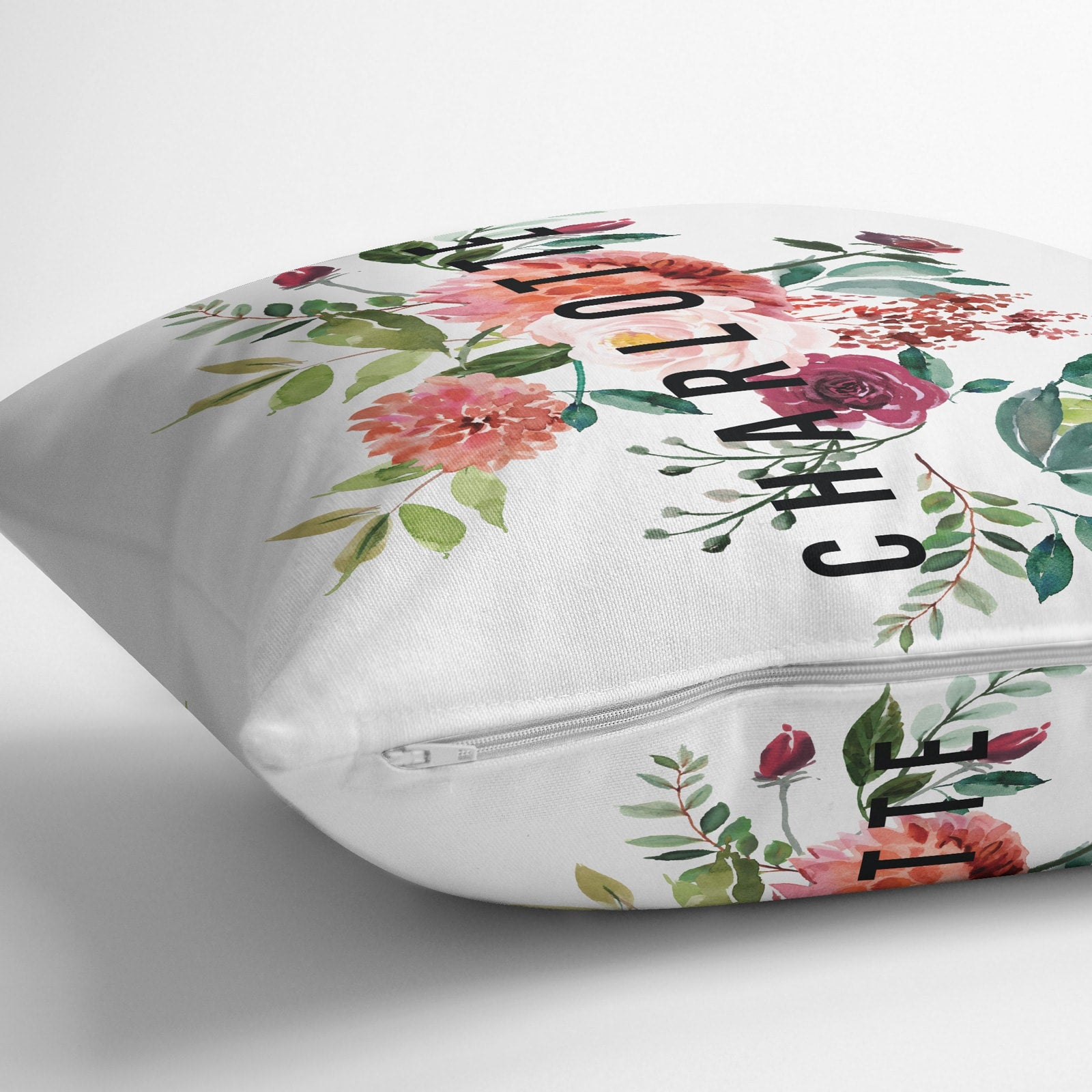 Personalised Floral Side Name Cushion