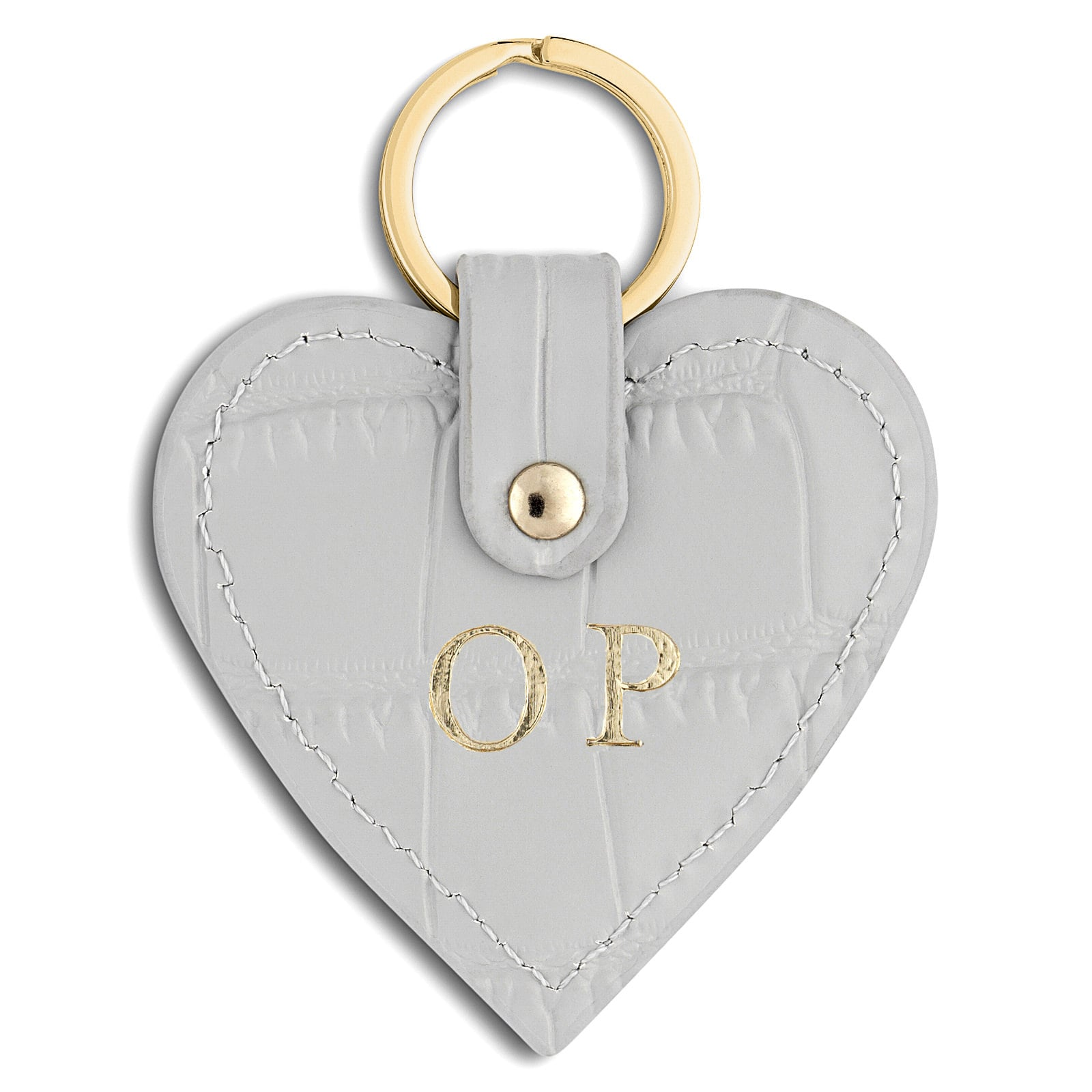 Personalised Grey Croc Leather Heart Key Ring