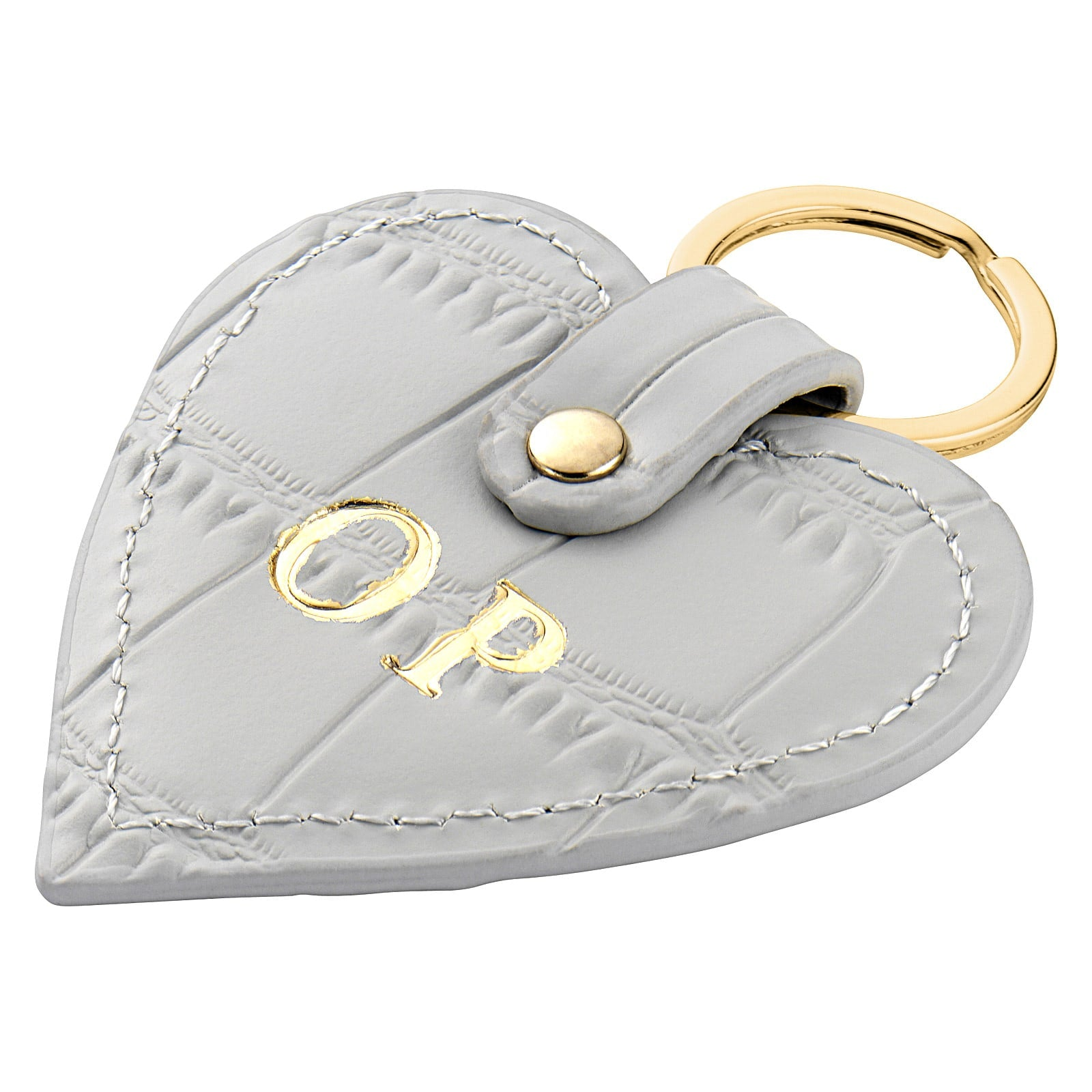 Personalised Grey Croc Leather Heart Key Ring Side Angle
