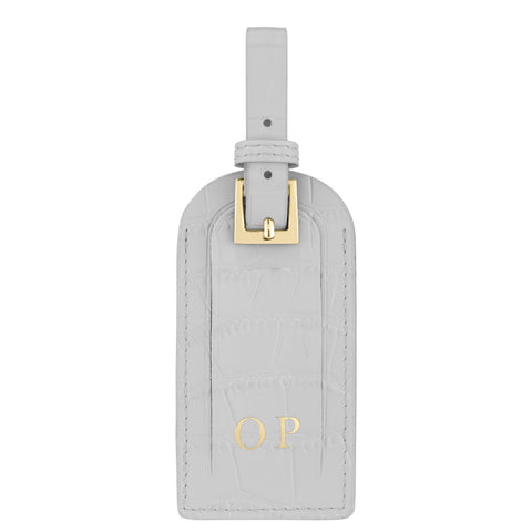 Personalised Grey Croc Leather Luggage Tag