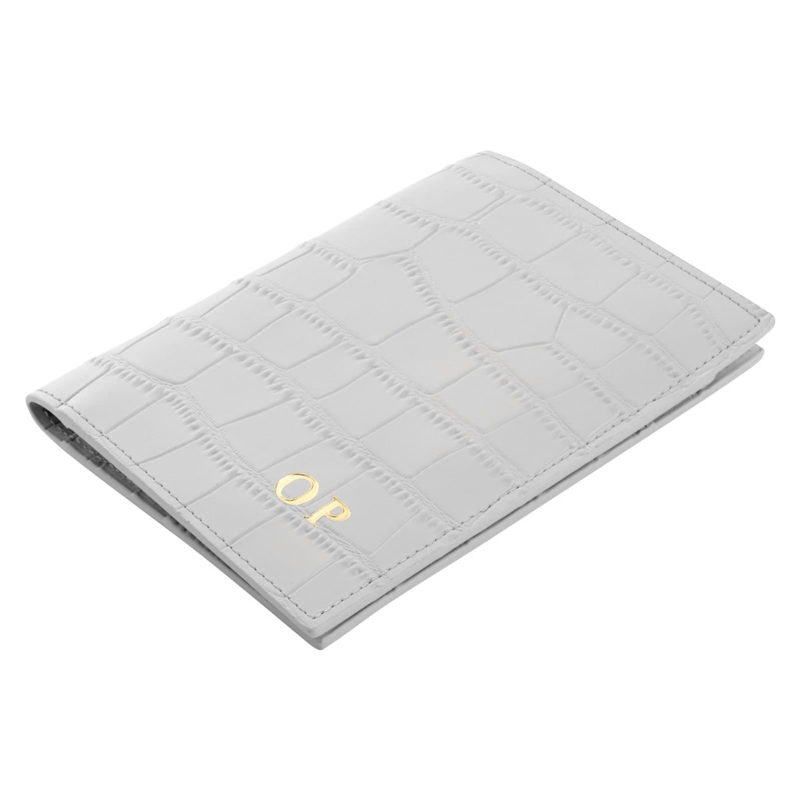 Personalised Grey Croc Leather Passport Holder Side Angle
