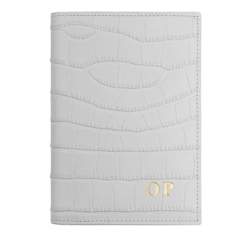 Personalised Grey Croc Leather Passport Holder