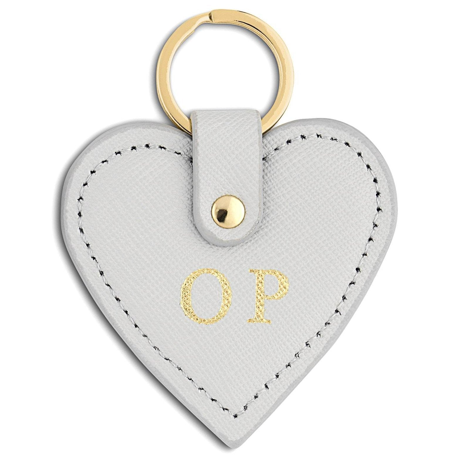 Personalised Grey Saffiano Leather Heart Key Ring