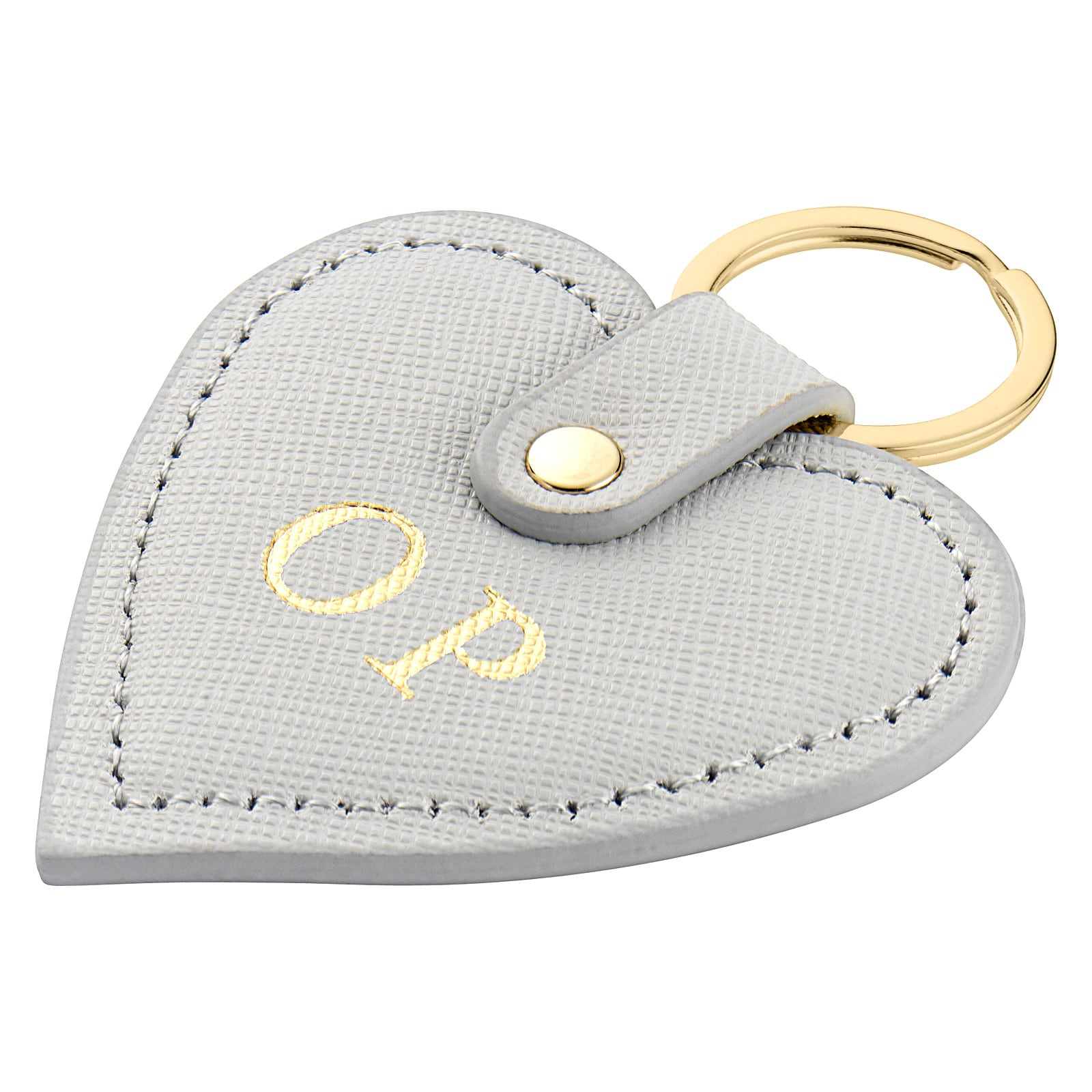 Personalised Grey Saffiano Leather Heart Key Ring Side Angle