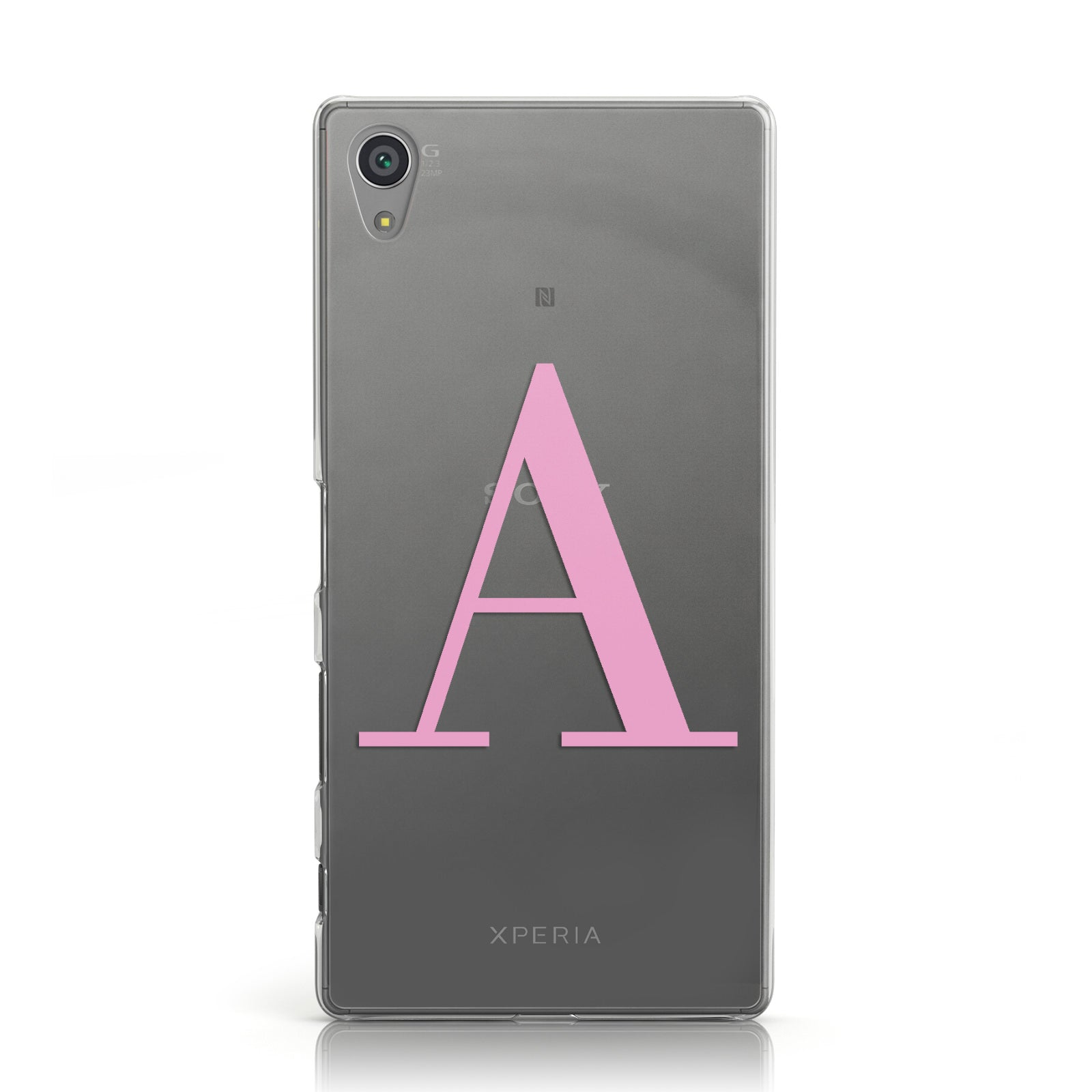 Personalised Pink Big Initial Clear Custom Sony Xperia Case