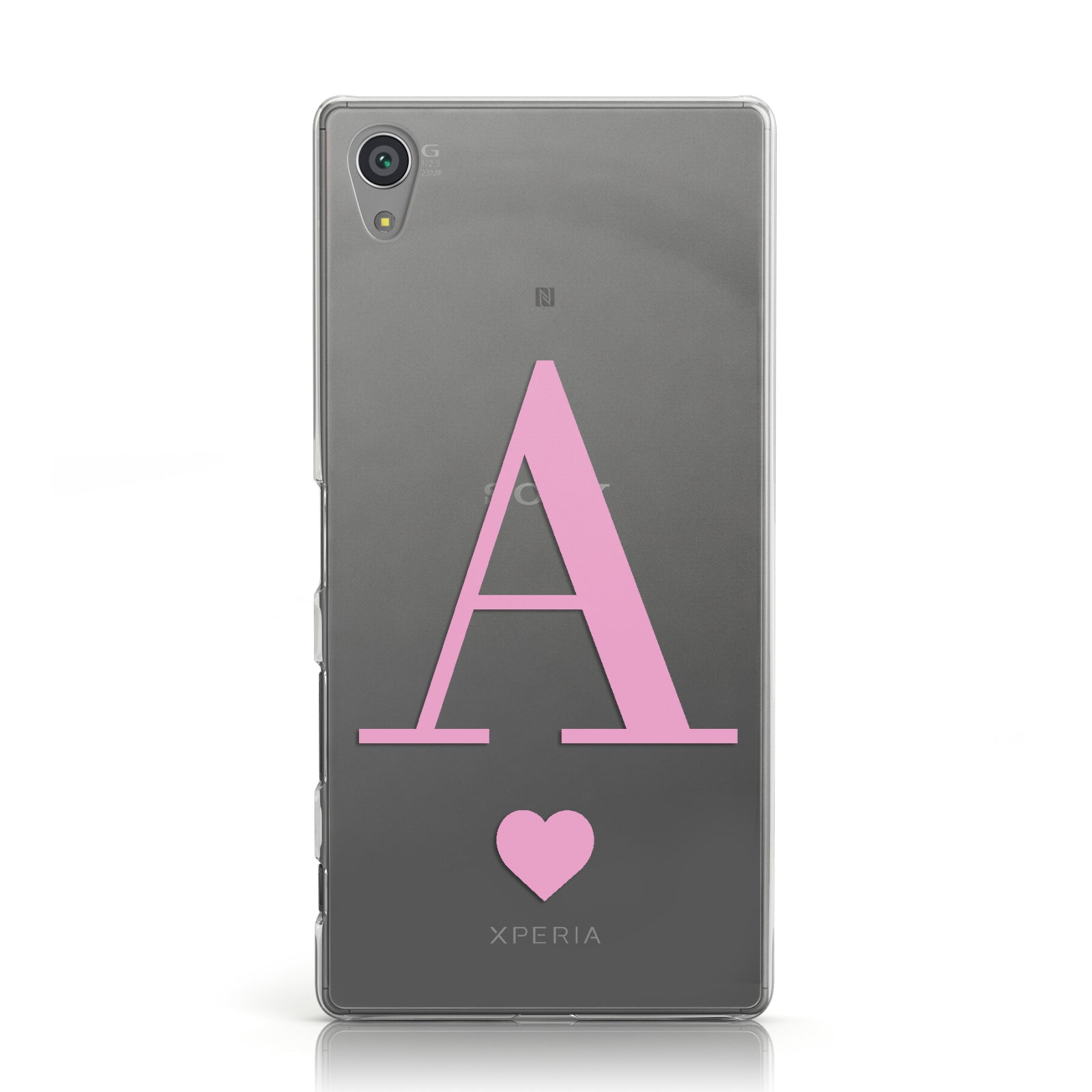 Personalised Pink Big Initial & Heart Clear Sony Xperia Case