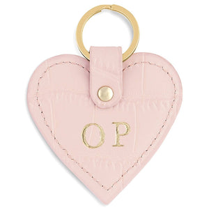 Personalised Pink Croc Leather Heart Key Ring