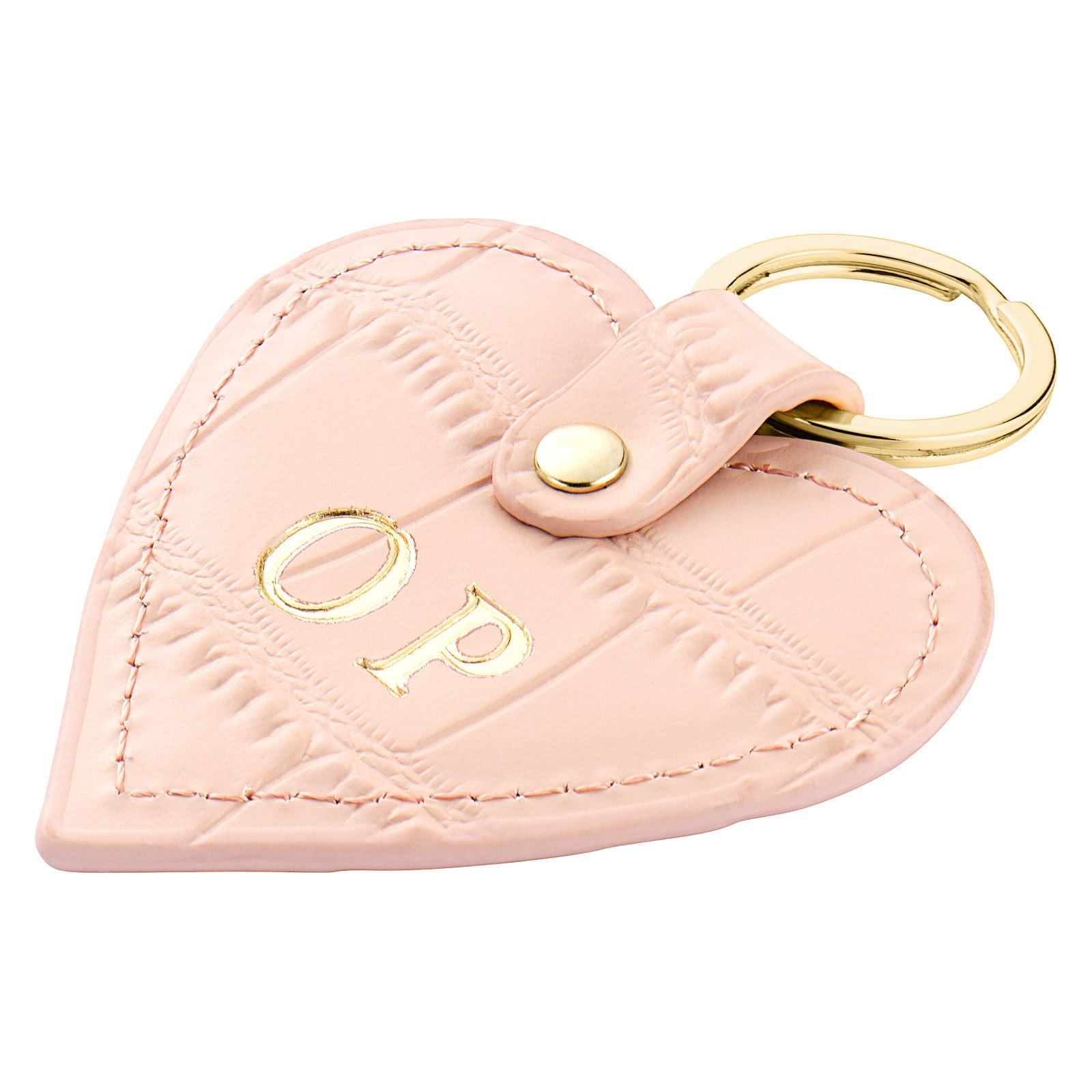 Personalised Pink Croc Leather Heart Key Ring Side Angle