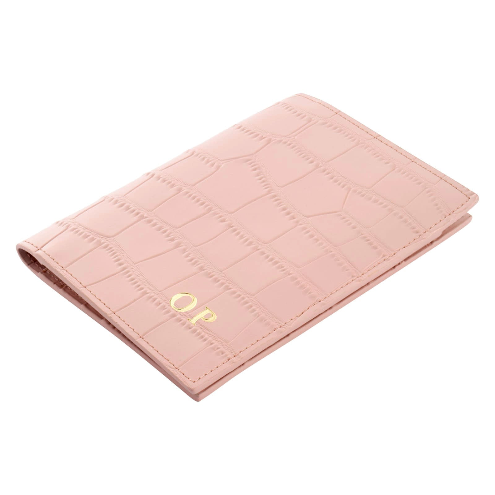 Personalised Pink Croc Leather Passport Holder Side Angle