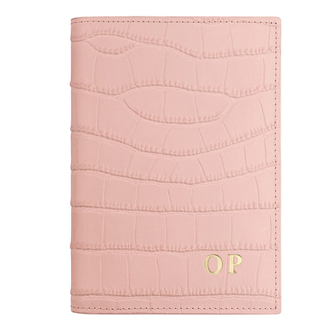 Personalised Pink Croc Leather Passport Holder