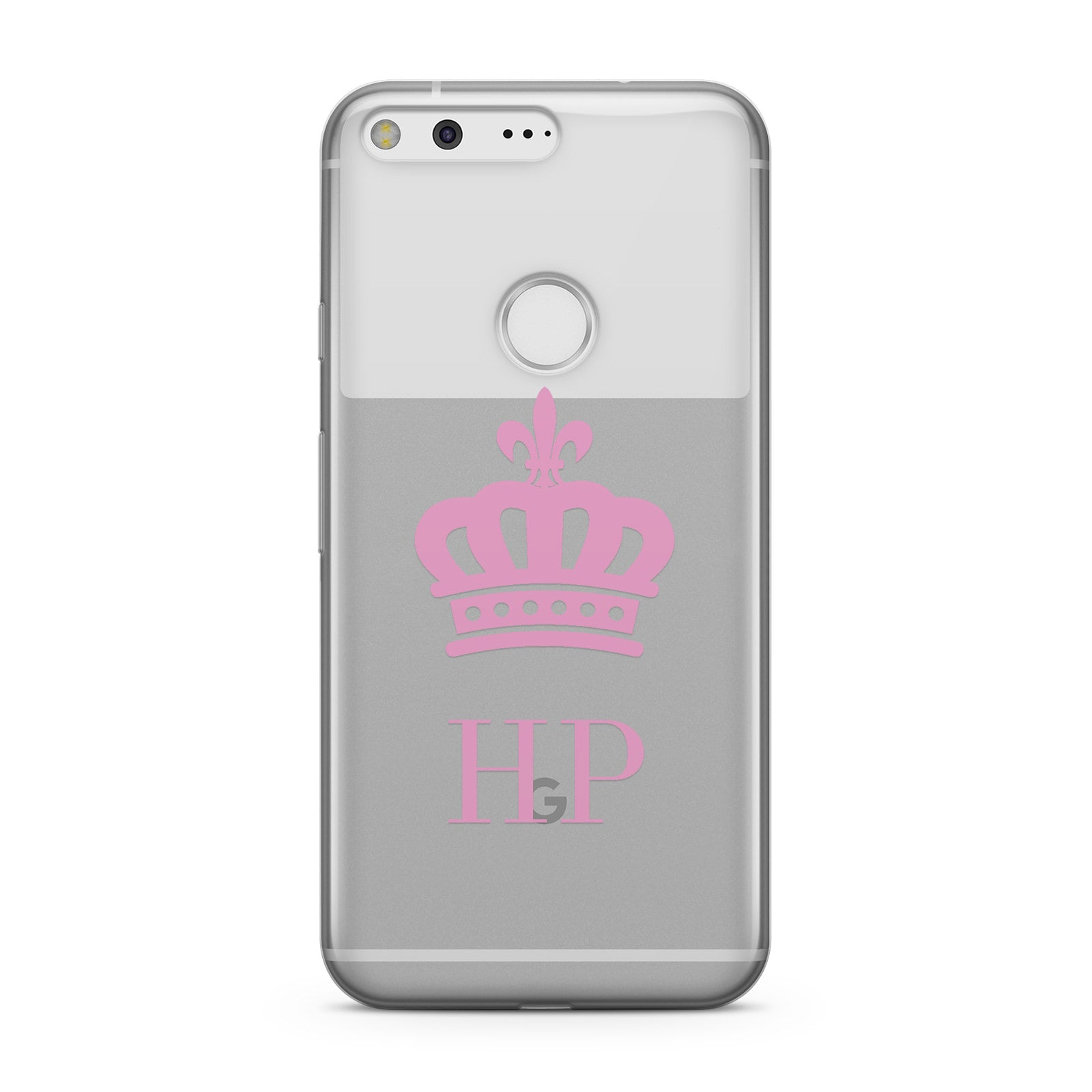 Personalised Pink Crown & Initials Clear Google Case