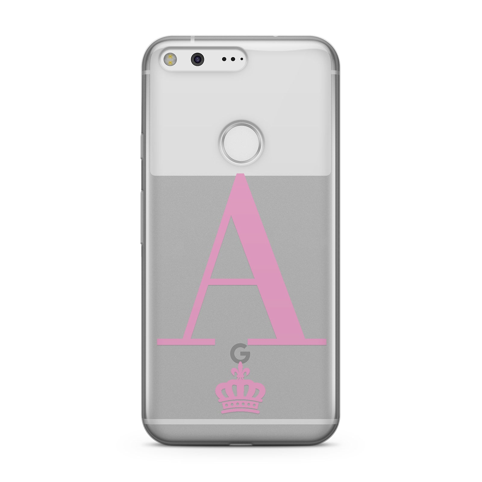 Personalised Pink Initial & Crown Clear Google Case