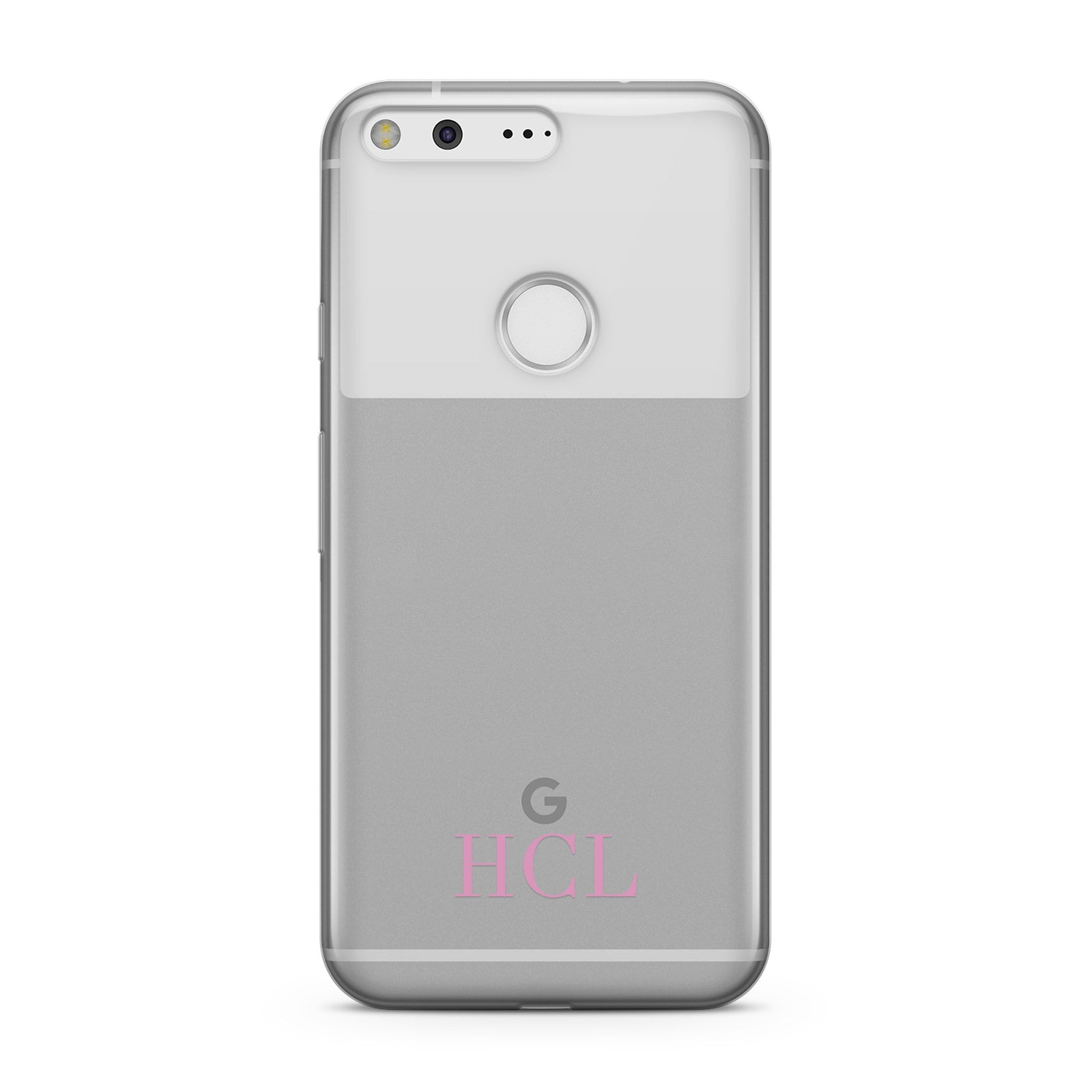 Personalised Pink Initials Bottom Clear Custom Google Case