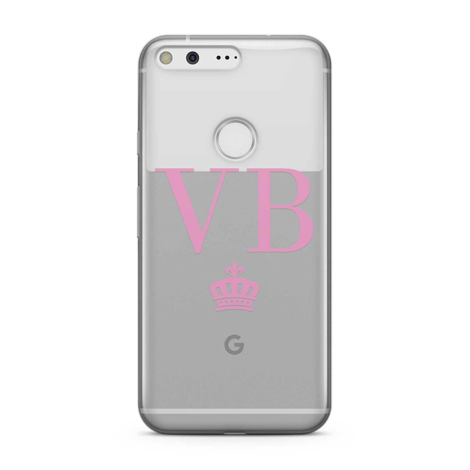 Personalised Pink Initials & Crown Clear Google Case