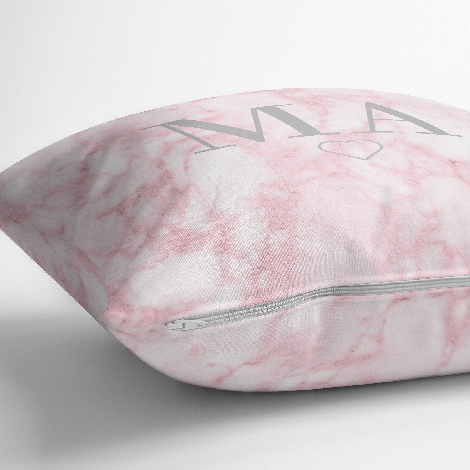 Personalised Pink Marble Monogram Throw Pillow