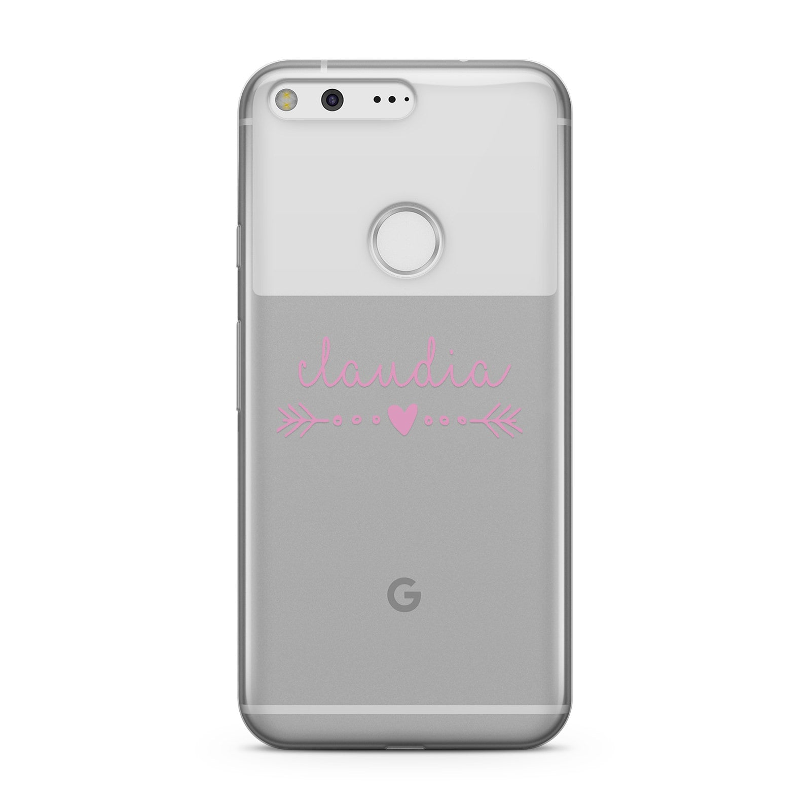 Personalised Pink Name Heart & Arrow Clear Google Case