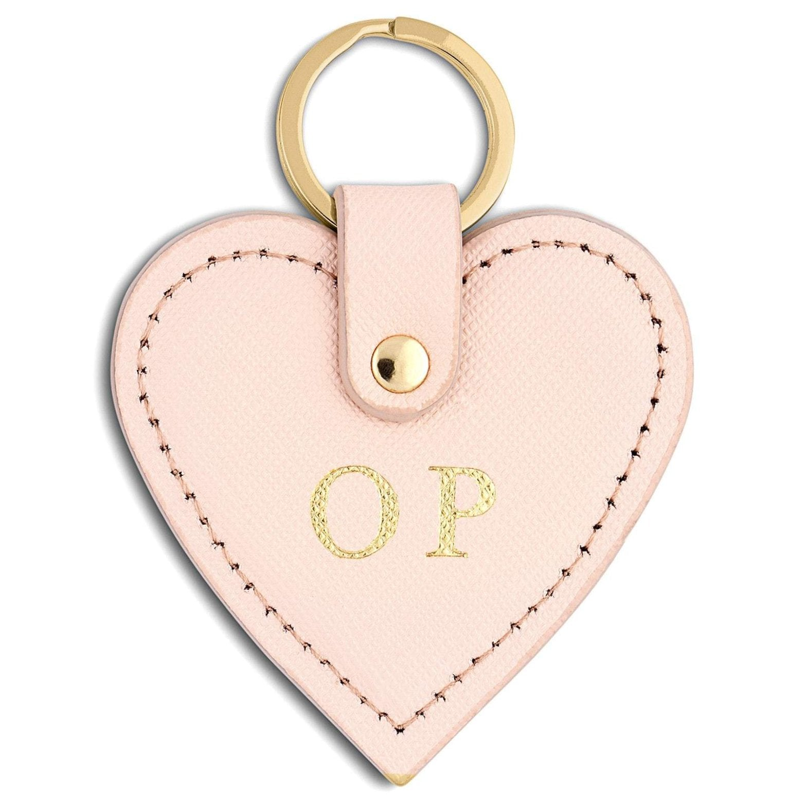 Personalised Pink Saffiano Leather Heart Key Ring