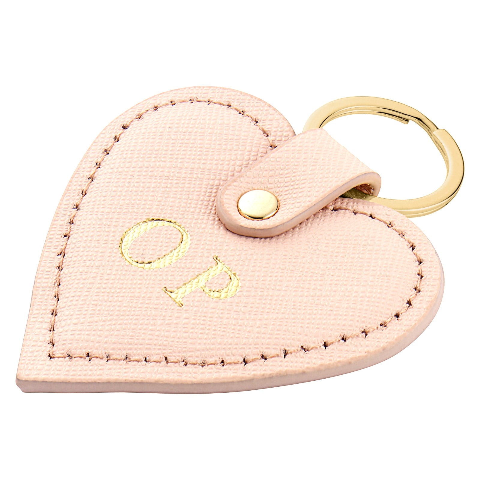 Personalised Pink Saffiano Leather Heart Key Ring Side Angle