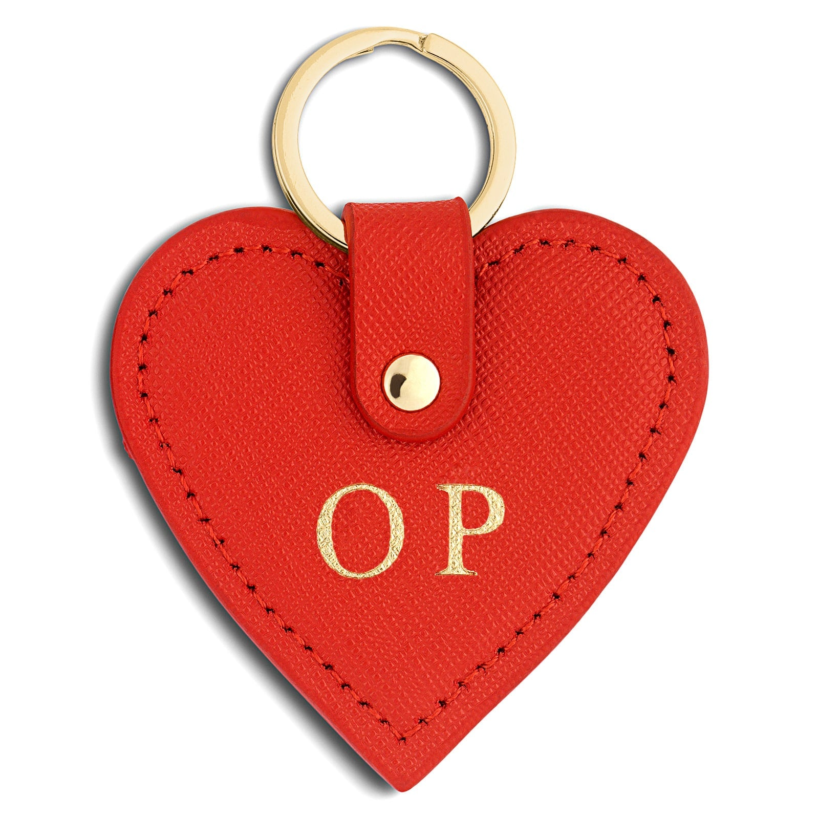 Personalised Red Saffiano Leather Heart Key Ring