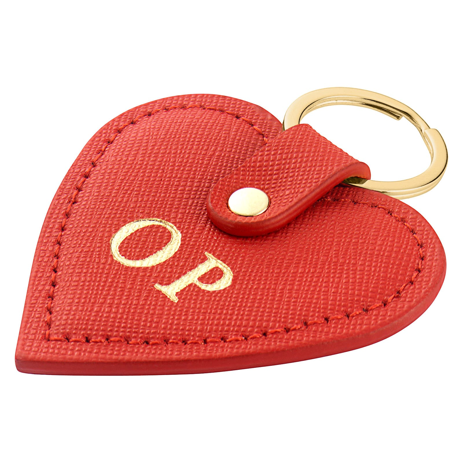 Personalised Red Saffiano Leather Heart Key Ring Side Angle
