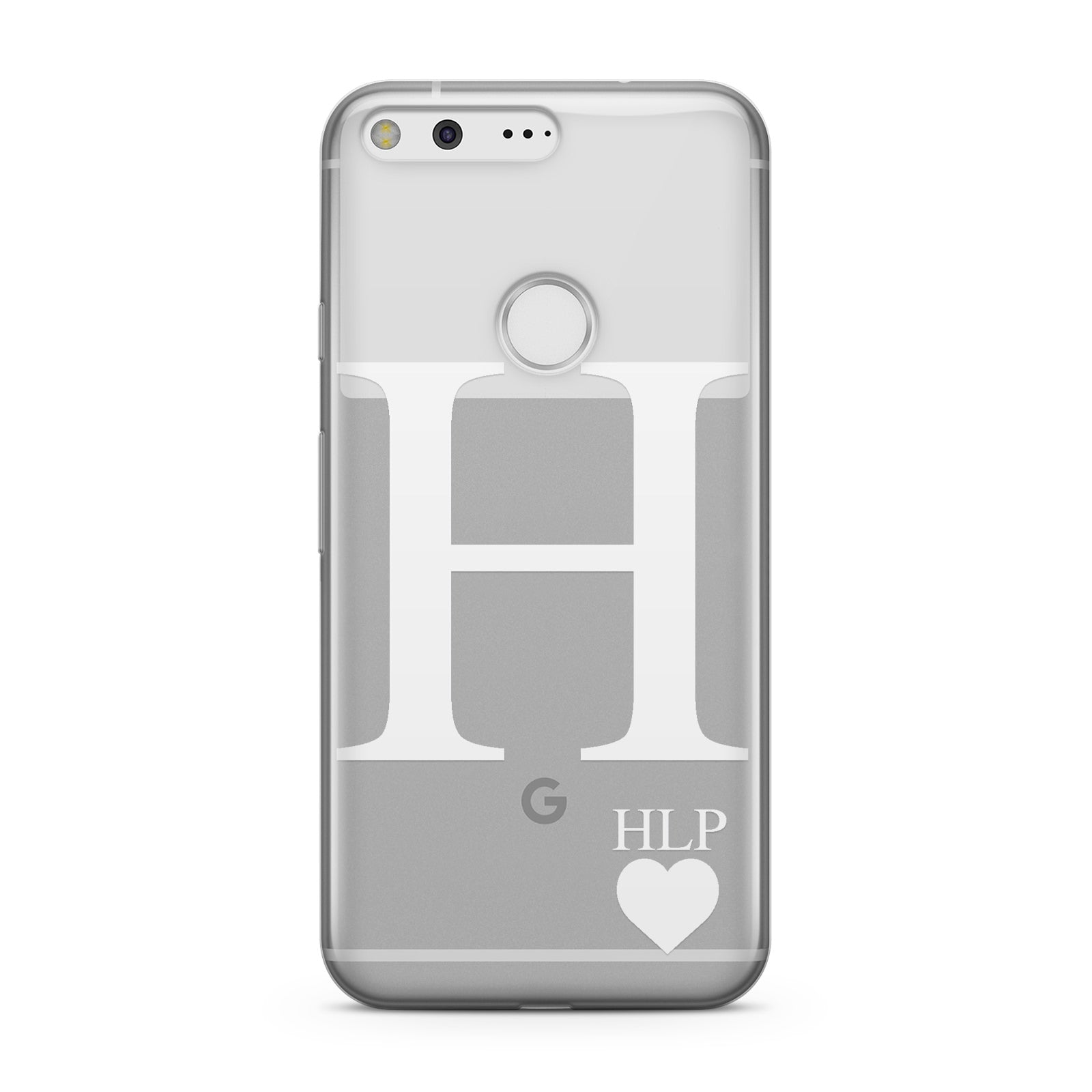 Personalised White Big Initial & 3 Small Clear Google Case