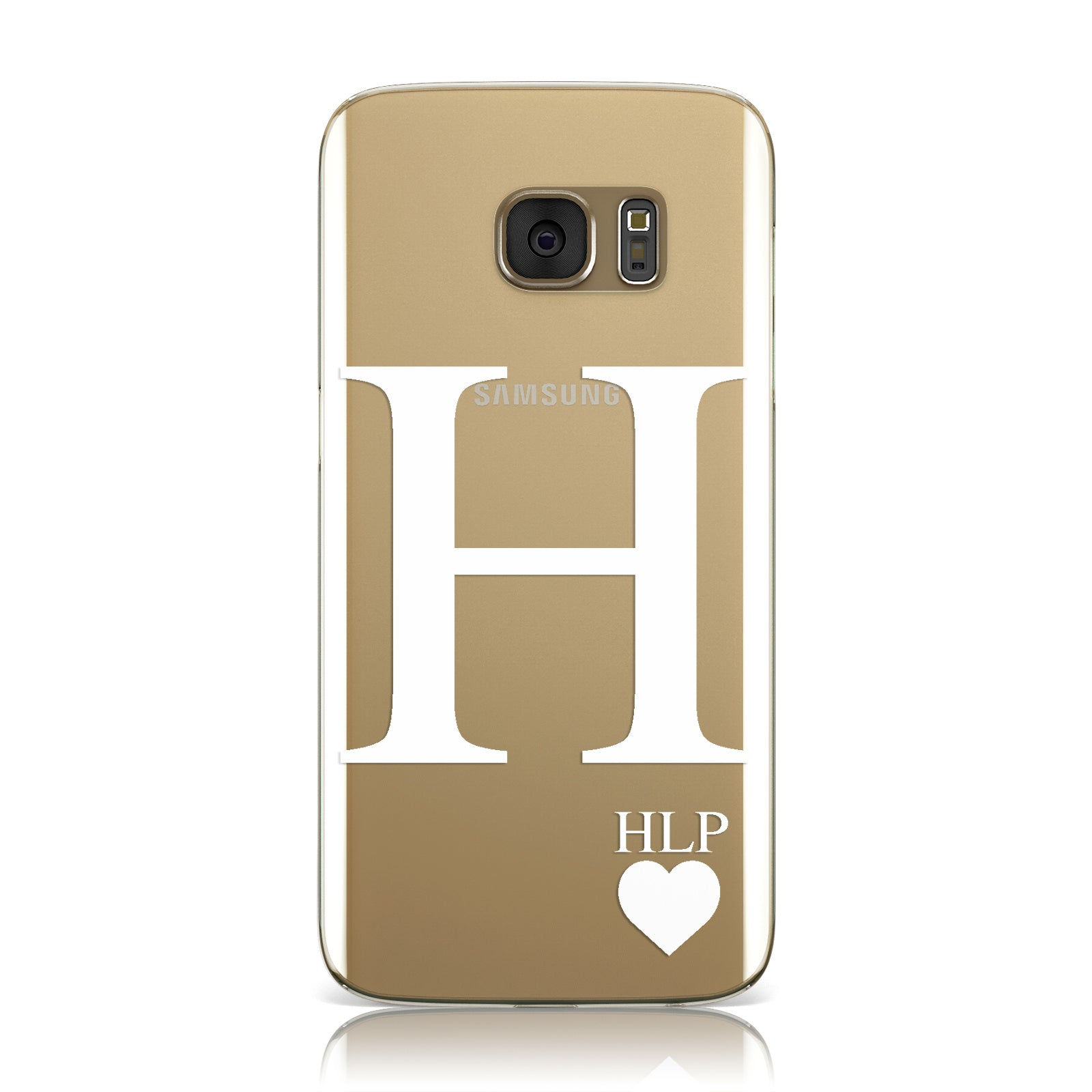 Personalised White Big Initial & 3 Small Clear Samsung Galaxy Case