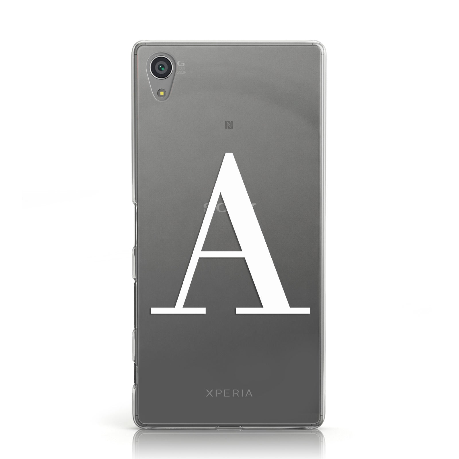 Personalised White Big Initial Clear Custom Sony Xperia Case