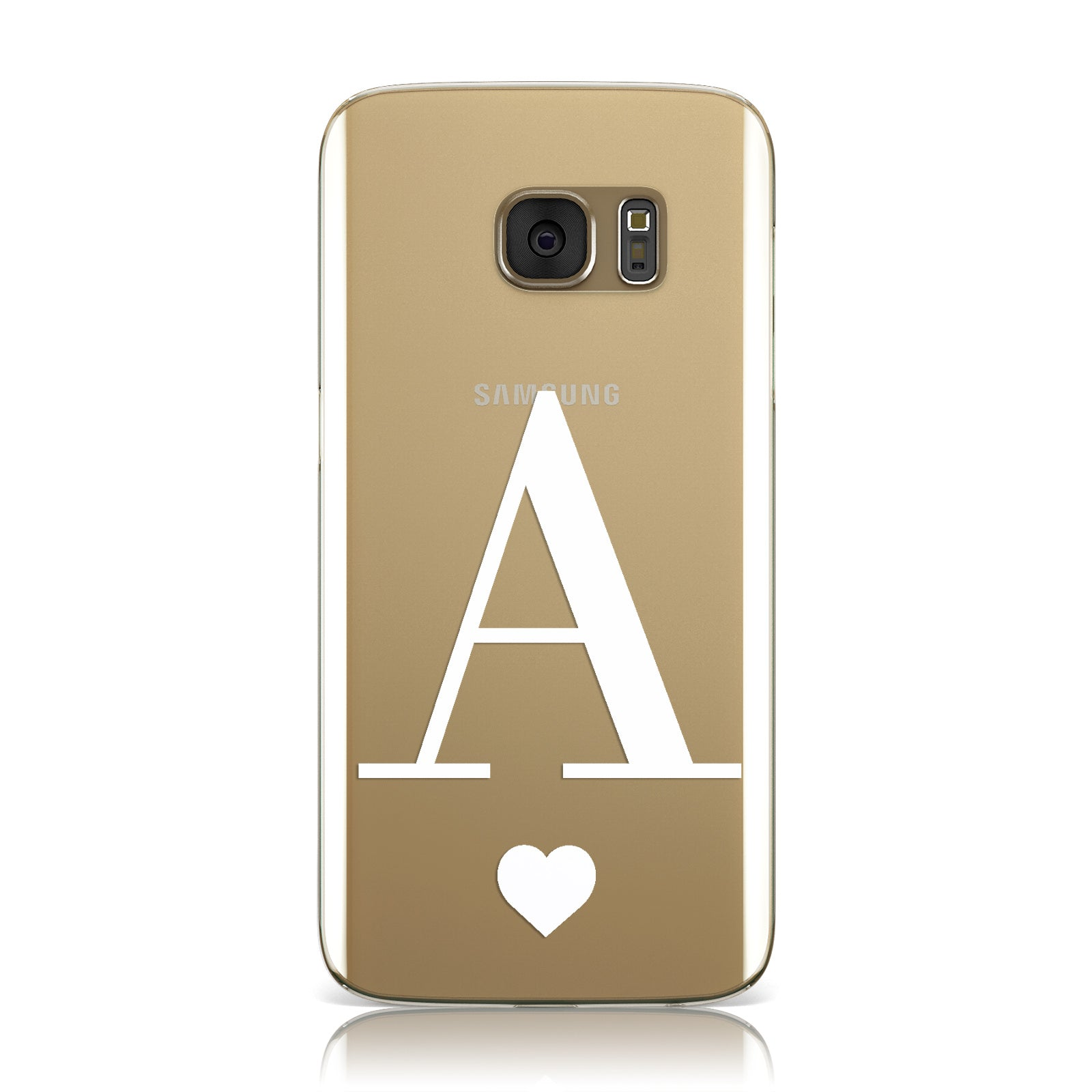save off 504e9 b8320 Personalised Black Big Initial & Heart Clear Samsung Galaxy Case