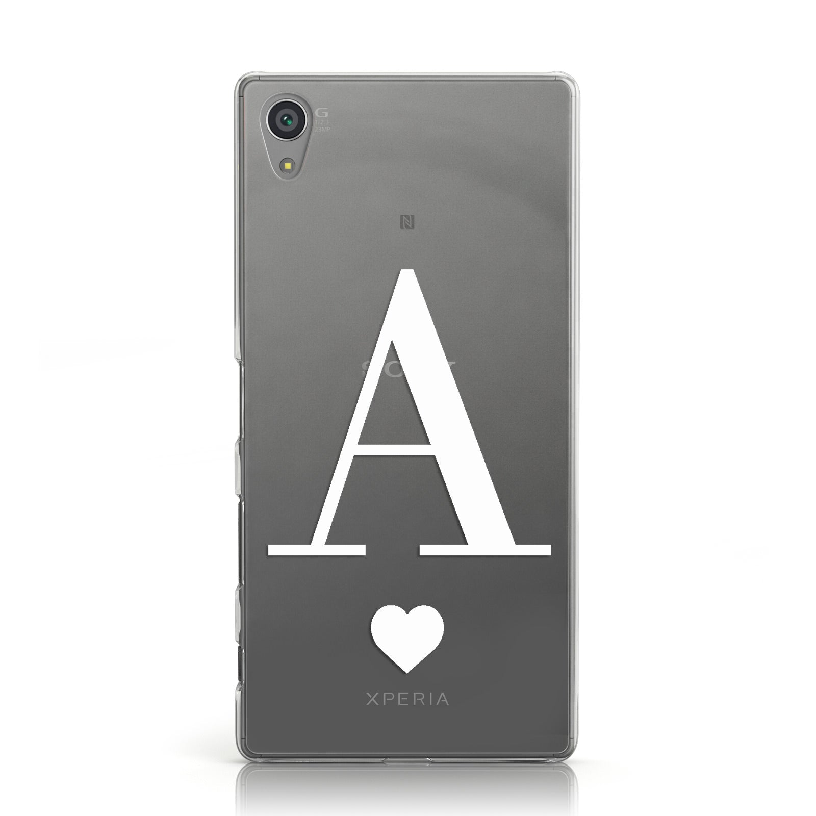 Personalised White Big Initial & Heart Clear Sony Xperia Case