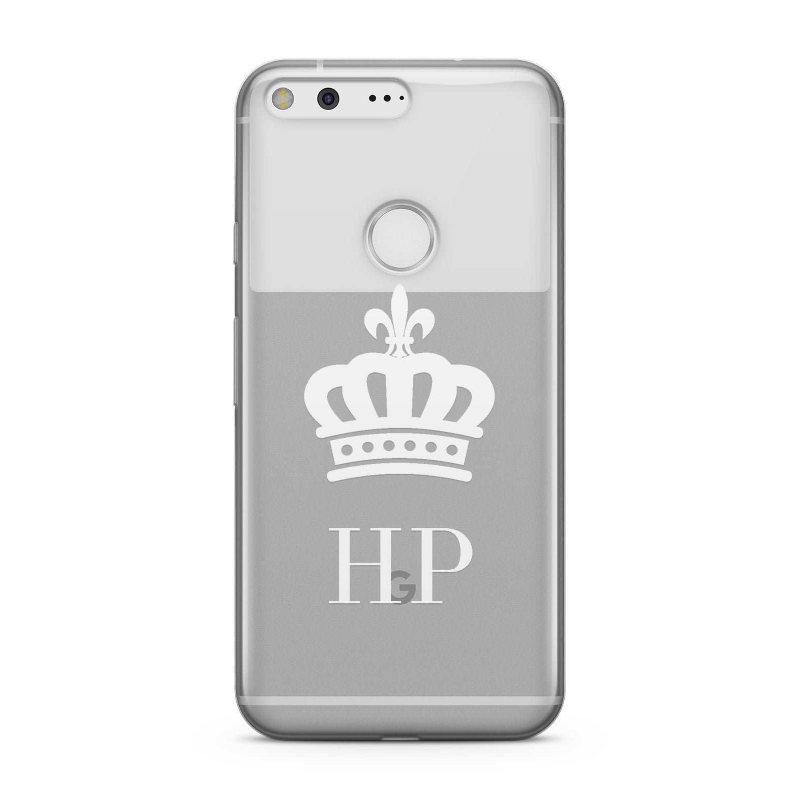 Personalised White Crown & Initials Clear Google Case