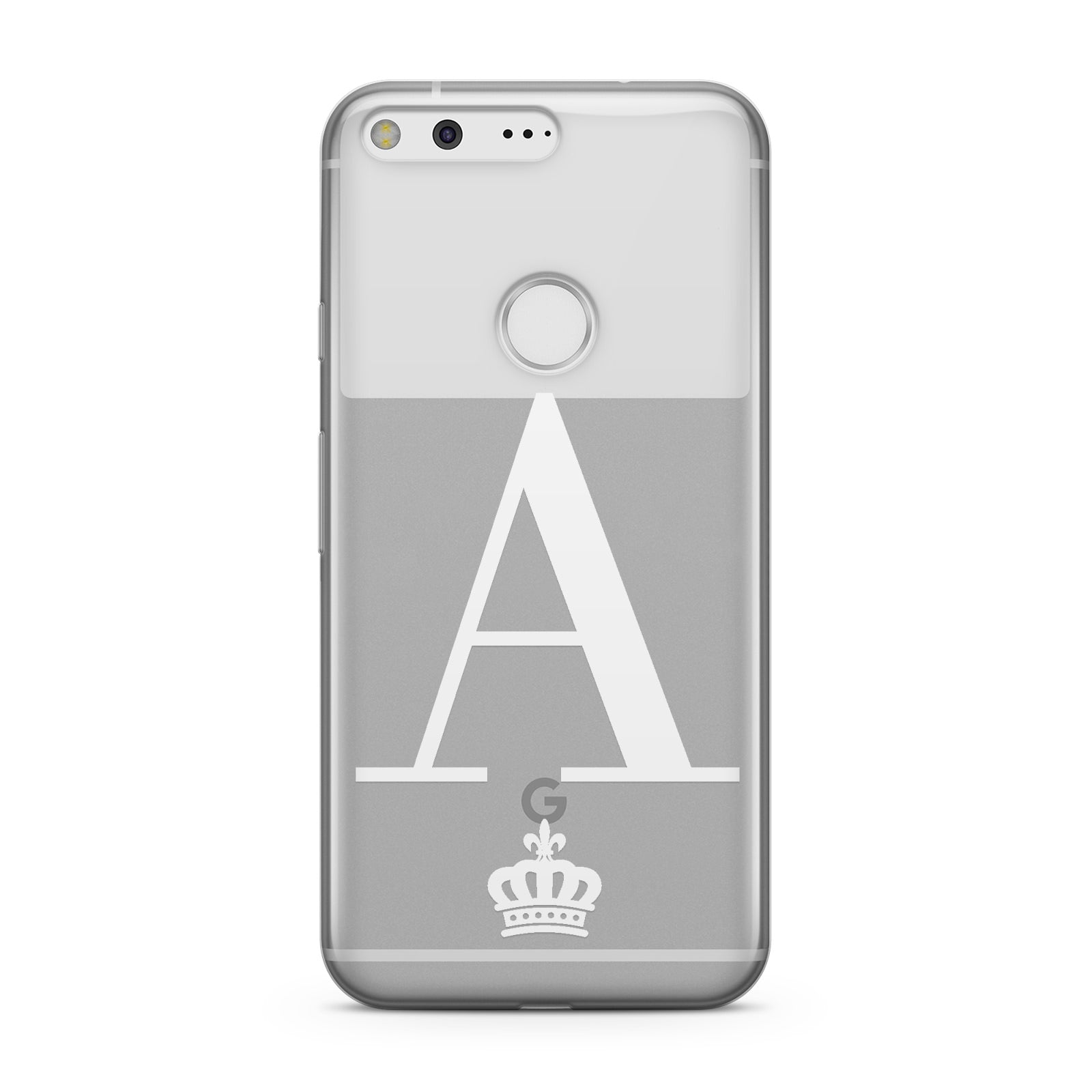 Personalised White Initial & Crown Clear Google Case
