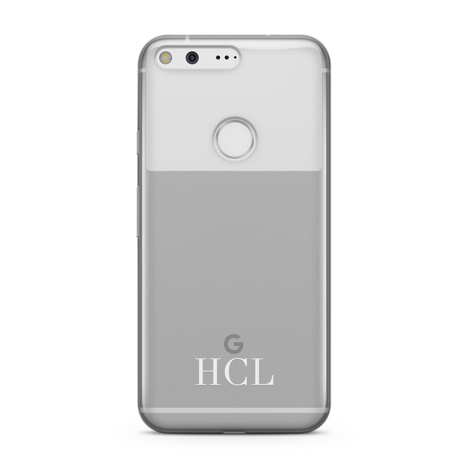 Personalised White Initials Bottom Clear Custom Google Case